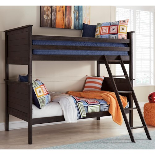 Signature Design by Ashley Jaysom Twin/Twin Bunk Bed in Rub Through Black Finish