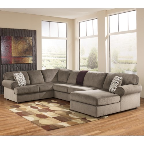 Signature Design by Ashley Furniture Jessa Place - Dune Casual Sectional Sofa with Right Chaise