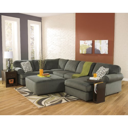Signature Design by Ashley Jessa Place - Pewter Stationary Living Room Group
