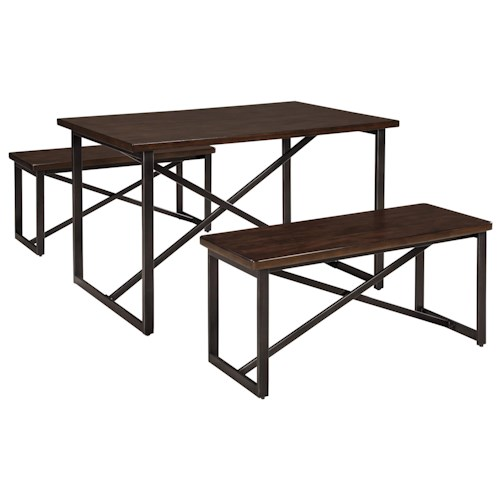 Signature Design by Ashley Joring Rustic Casual Rectangular Dining Room Table Set with 2 Benches