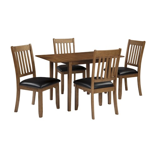 Signature Design by Ashley Joveen 5-Piece Dining Table with Drop Leaves and Upholstered Dining Side Chair Set