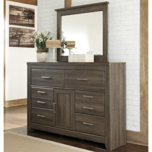 Signature Design by Ashley Juararo 6-Drawer & 1-Door Dresser and Mirror Set