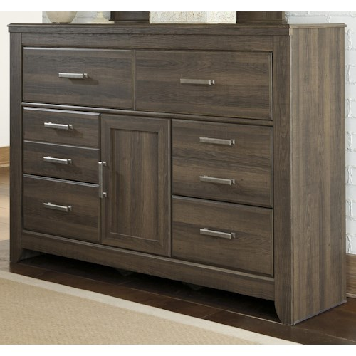 Signature Design by Ashley Juararo 6-Drawer Dresser with 1-Door & Adjustable Shelf