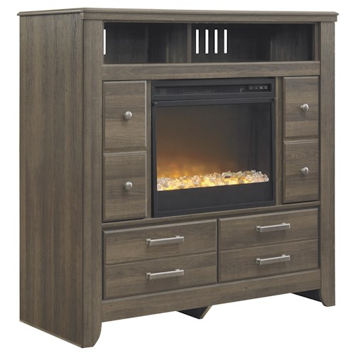 Signature Design by Ashley Sawyer Media Chest with Contemporary Electric Fireplace Insert