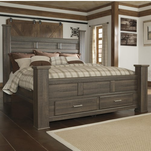 Signature Design by Ashley Juararo Transitional King Poster Bed with Footboard Storage