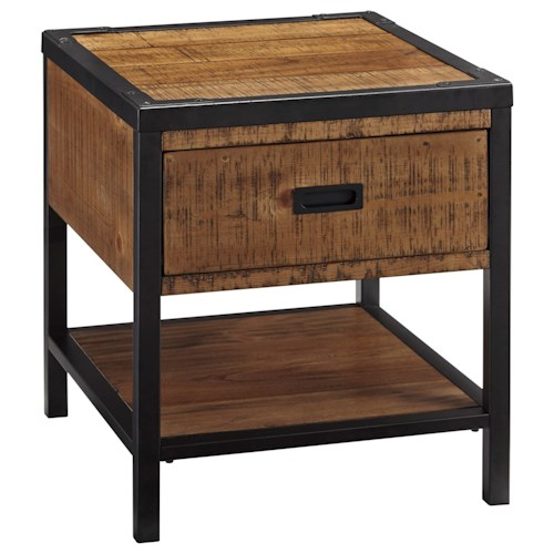 Signature Design by Ashley Kalean Modern Rustic Rectangular End Table