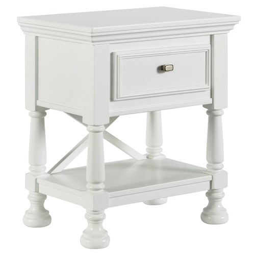 Signature Design by Ashley Kaslyn One Drawer Night Stand with Shelf & X-Back