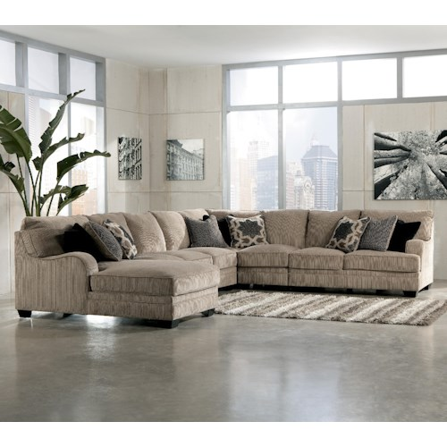 Signature Design by Ashley Katisha - Platinum 5-Piece Sectional Sofa with Left Chaise