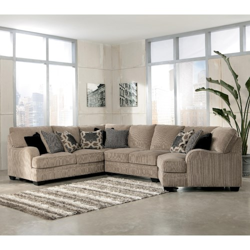 Signature Design by Ashley Katisha - Platinum 4-Piece Sectional Sofa with Right Cuddler
