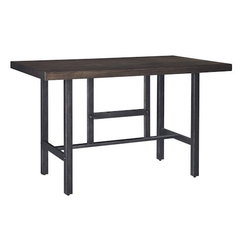 Signature Design by Ashley Kavara Rectangular Dining Room Counter Table w/ Pine Veneers and Metal Base