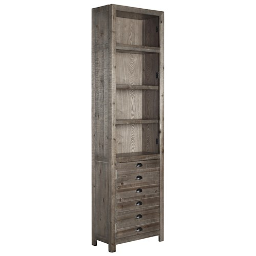 Signature Design by Ashley Keeblen Rustic Gray Brown Pine Left Pier with Apothecary-Look Door