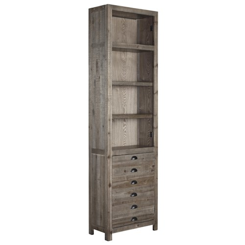 Signature Design by Ashley Keeblen Rustic Gray Brown Pine Right Pier with Apothecary-Look Door