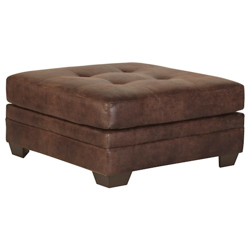 Signature Design by Ashley Kelemen - Amber Brown Faux Leather Oversized Accent Ottoman with Tufted Top