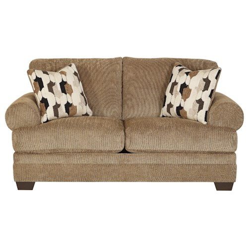 Signature Design by Ashley Kelemen - Amber Casual Contemporary Loveseat with Large Rolled Arms & Reversible Seat Cushions