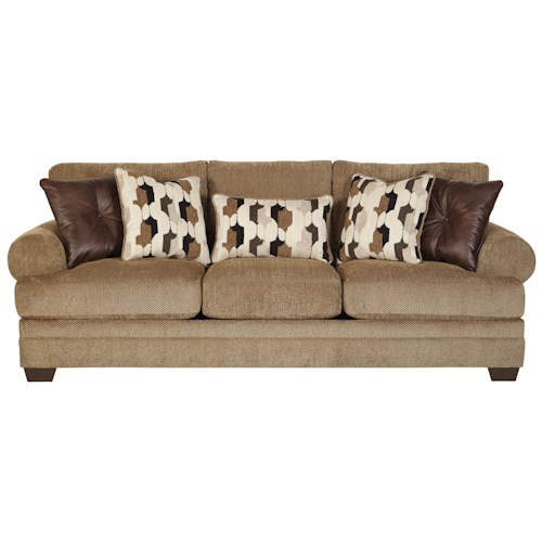 Signature Design by Ashley Kelemen - Amber Casual Contemporary Queen Sofa Sleeper with Large Rolled Arms & Reversible Seat Cushions