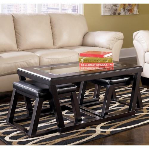 Signature Design by Ashley Kelton Rectangular Cocktail Table w/ Faux Leather Ottoman Pair
