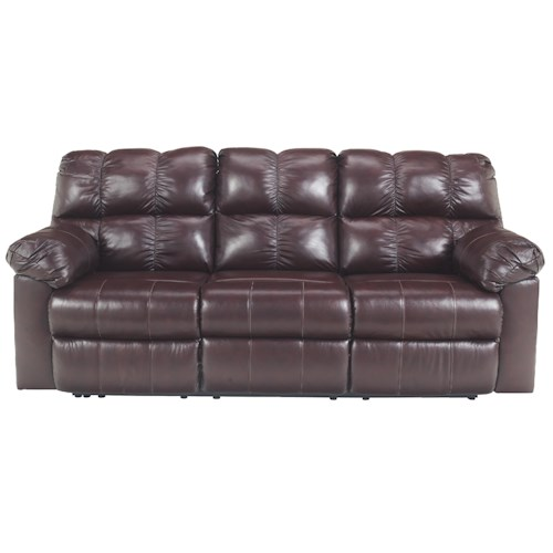 Signature Design by Ashley Kennard - Burgundy Reclining Sofa with Plush Pillow Arms