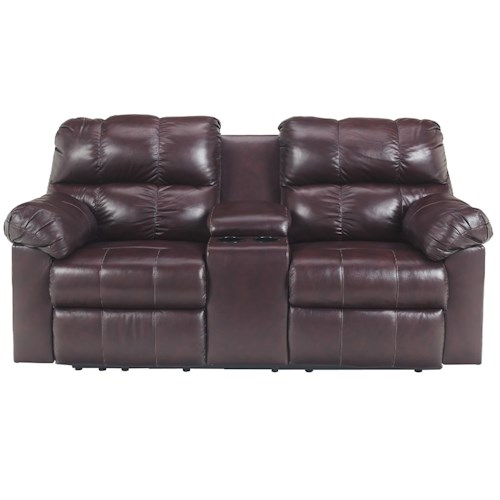 Signature Design by Ashley Kennard - Burgundy Double Power Reclining Love Seat with Middle Arm Lift Top Console