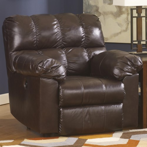 Signature Design by Ashley Kennard - Chocolate Rocker Recliner with Large Pillow Arms