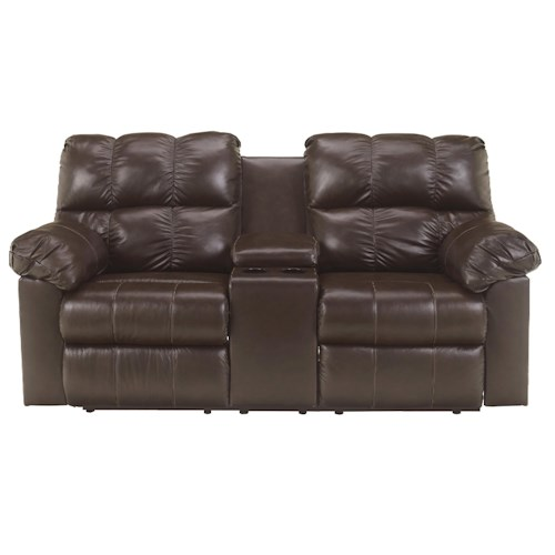 Signature Design by Ashley Kennard - Chocolate Double Power Reclining Love Seat with Middle Arm Lift Top Console