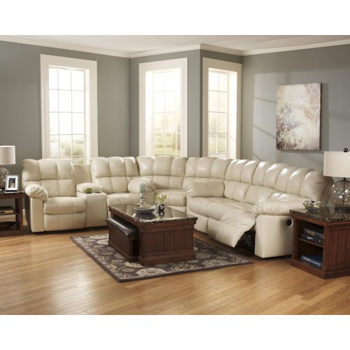 Signature Design by Ashley Kennard - Cream Reclining Sectional Sofa with Plush Pillow Arms and Middle Lift Top Arm Console