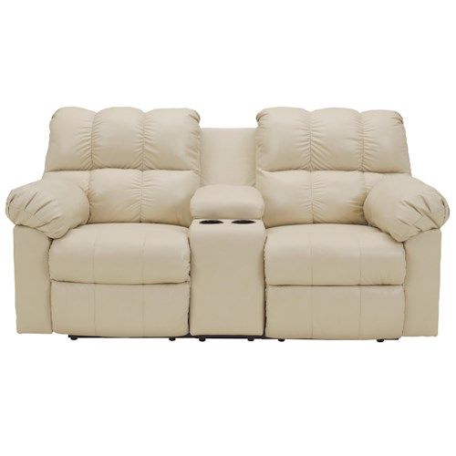 Signature Design by Ashley Kennard - Cream Double Power Reclining Love Seat with Middle Arm Lift Top Console