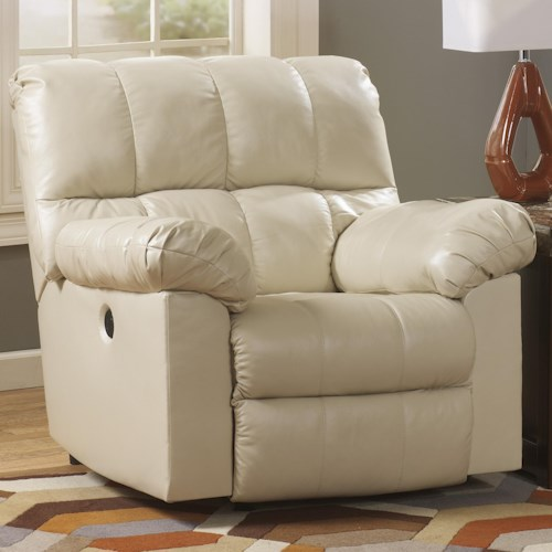 Signature Design by Ashley Kennard - Cream Power Rocker Recliner with Large Pillow Arms