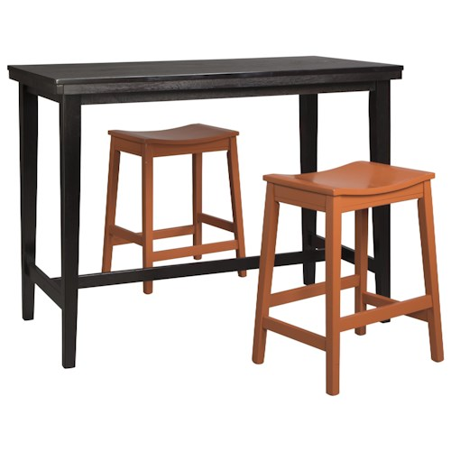Signature Design by Ashley Kimonte 3-Piece Counter Table Set with Orange Red Backless Stools