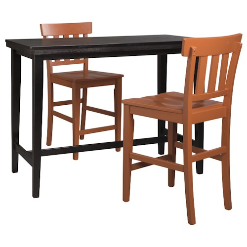 Signature Design by Ashley Kimonte 3-Piece Counter Table Set with Orange Red Slat Back Stools