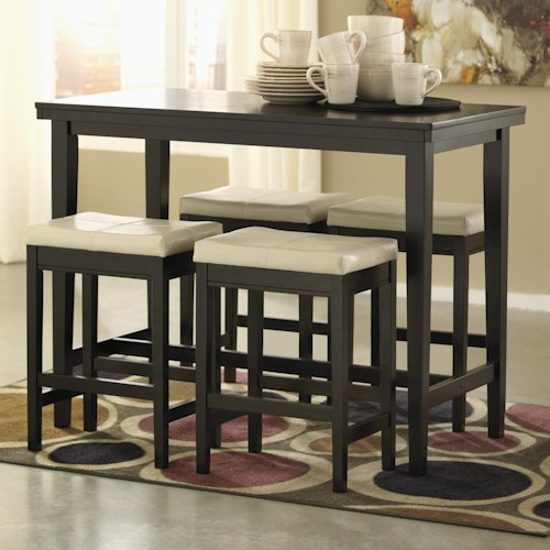 Signature Design by Ashley Kimonte 5-Piece Counter Table Set with Ivory Upholstered Stools