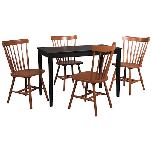 Signature Design by Ashley Kimonte 5-Piece Rectangular Table Set with Orange Red Spindle Back Chairs