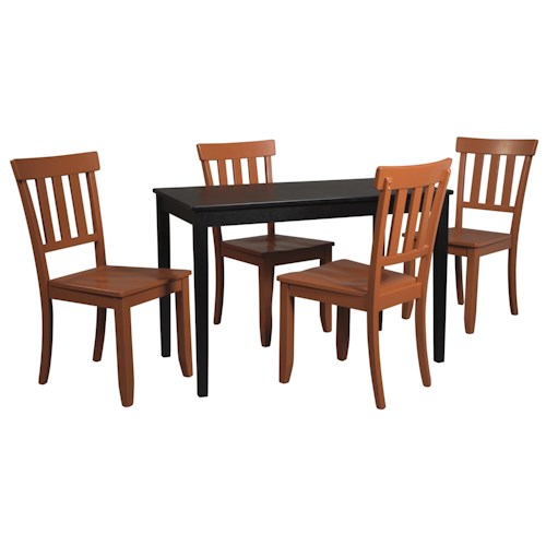 Signature Design by Ashley Kimonte 5-Piece Rectangular Table Set with Orange Red Chairs