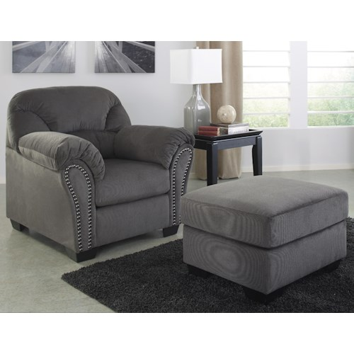 Signature Design by Ashley Kinlock Chair with Nailhead Trim and Pillow Arms & Ottoman