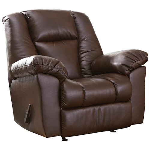 Signature Design by Ashley Knoxton Brown Faux Leather Rocker Recliner
