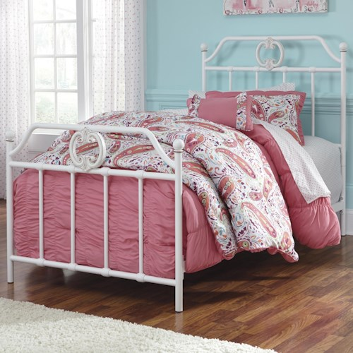 Signature Design by Ashley Korabella Twin Metal Bed with Scrolling and Rose Gold Color Highlights