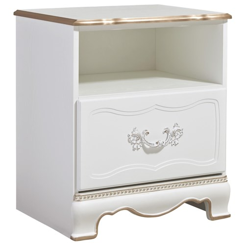 Signature Design by Ashley Korabella Traditional One Drawer Night Stand with Rose Gold Color Highlights & USB Charger