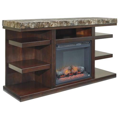 Signature Design by Ashley Kraleene Contemporary Large TV Stand with Fireplace Insert