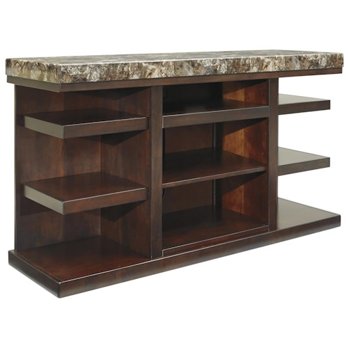 Signature Design by Ashley Kraleene Contemporary Large TV Stand with Stone-Look Top & Open Sides