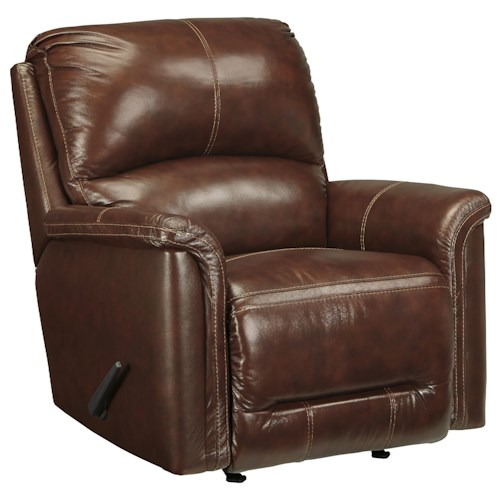 Signature Design by Ashley Lacotter Contemporary Leather Match Rocker Recliner