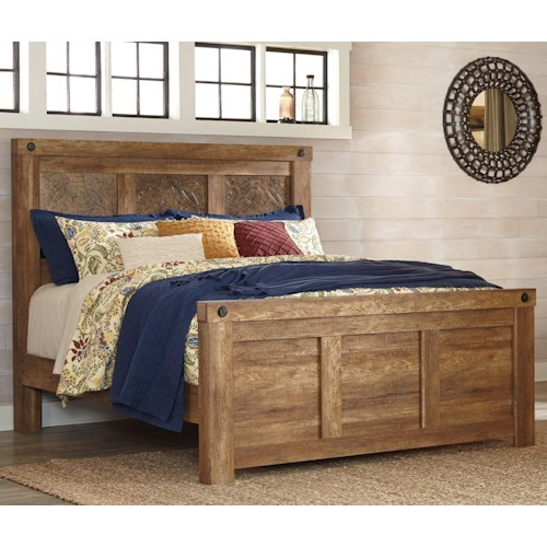Signature Design by Ashley Ladimier King Mansion Bed with Rustic Look