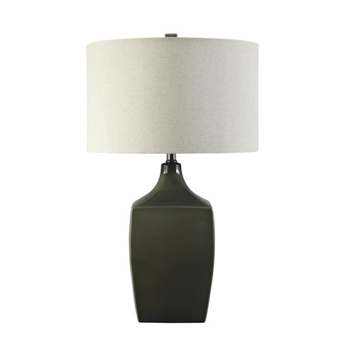 Signature Design by Ashley Lamps - Contemporary Sheaon - Dark Green Ceramic Table Lamp