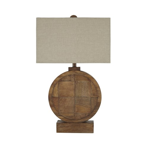 Signature Design by Ashley Lamps - Contemporary Shonalee Natural/Brown Wood Table Lamp