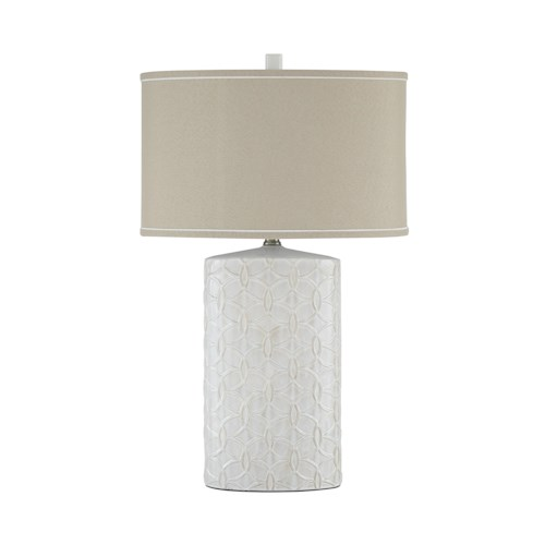 Signature Design by Ashley Lamps - Vintage Style Shelvia Antique White Ceramic Table Lamp