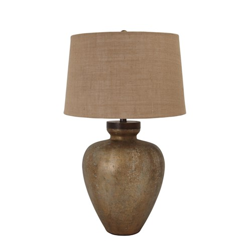 Signature Design by Ashley Lamps - Vintage Style Shaunelle Gold Finish Glass Table Lamp