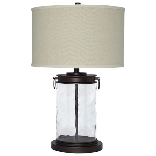 Signature Design by Ashley Lamps - Vintage Style Tailynn Clear/Bronze Finish Glass Table Lamp