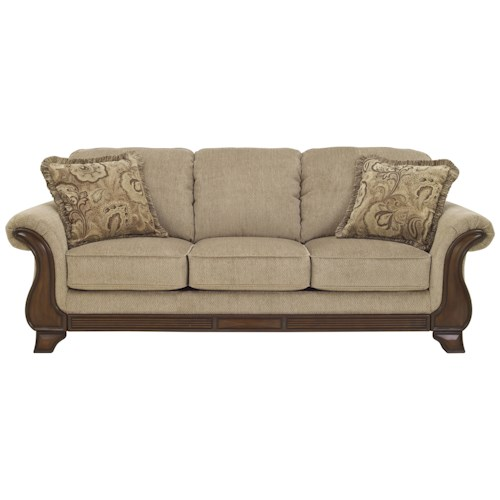 Signature Design by Ashley Lanett Queen Sofa Sleeper with with Memory Foam Mattress, Flared Arms & Exposed Wood Accents
