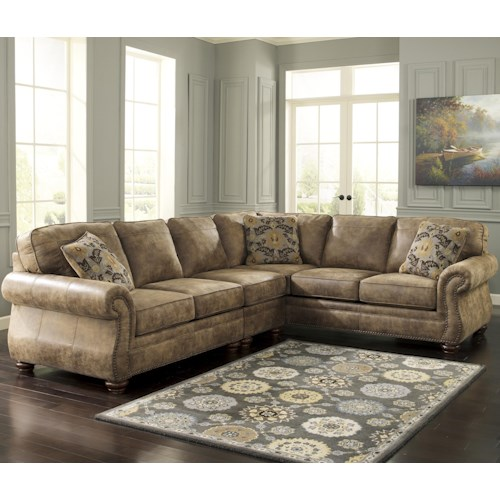 Signature Design by Ashley Larkinhurst - Earth Roll Arm Sectional with RAF Sofa
