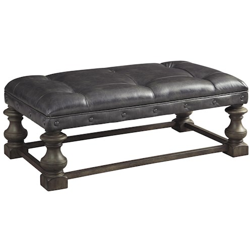 Signature Design by Ashley Larrenton Traditional Ottoman Cocktail Table with Tufted Faux Leather