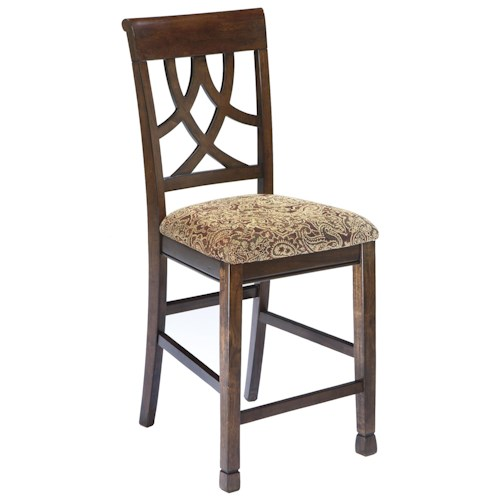 Signature Design by Ashley Leahlyn Cherry Finish Upholstered Barstool