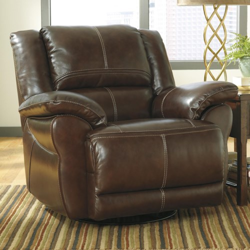 Signature Design by Ashley Lenoris - Coffee Leather Match Swivel Power Rocker Recliner